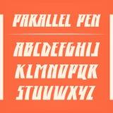 Παράλληλη διανυσματική πηγή μανδρών Ισχυρή εγγραφή αλφάβητου λατινικές επιστολές Στοκ Εικόνες