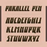 Παράλληλη διανυσματική πηγή μανδρών Ισχυρή εγγραφή αλφάβητου λατινικές επιστολές Στοκ εικόνες με δικαίωμα ελεύθερης χρήσης