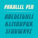 Παράλληλη διανυσματική πηγή μανδρών Ισχυρή εγγραφή αλφάβητου λατινικές επιστολές Στοκ Φωτογραφία