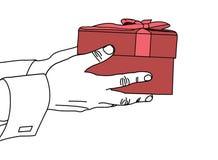 Παράδοση ενός δώρου για τα Χριστούγεννα Στοκ εικόνες με δικαίωμα ελεύθερης χρήσης