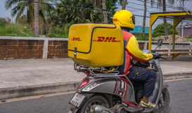 Παράδοση Ταϊλάνδη μοτοσικλετών DHL Στοκ Φωτογραφίες