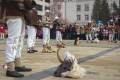 Παράδοση της Βουλγαρίας μίμων με προσωπείο Kuker μασκών Στοκ Φωτογραφίες