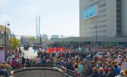 Παρέλαση στο τετραγωνικό έτος διακοπών στις 9 Μαΐου 2017 Ρωσία, Βλαδιβοστόκ Στοκ εικόνες με δικαίωμα ελεύθερης χρήσης