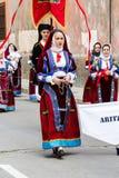 Παρέλαση της λαϊκής ομάδας Aritzo Στοκ Εικόνες