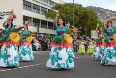 Παρέλαση φεστιβάλ λουλουδιών της Μαδέρας στο Φουνκάλ στο νησί της Μαδέρας Πορτογαλία Στοκ φωτογραφία με δικαίωμα ελεύθερης χρήσης