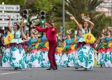 Παρέλαση φεστιβάλ λουλουδιών της Μαδέρας στο Φουνκάλ στο νησί της Μαδέρας Πορτογαλία Στοκ Εικόνες