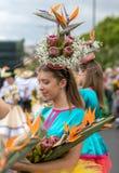 Παρέλαση φεστιβάλ λουλουδιών της Μαδέρας στο Φουνκάλ στο νησί της Μαδέρας Πορτογαλία Στοκ εικόνες με δικαίωμα ελεύθερης χρήσης