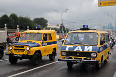 Παρέλαση της Μόσχας περιπολικών της Αστυνομίας μεταφορών καταρχάς της μεταφοράς πόλεων Στοκ Εικόνες