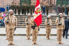 Παρέλαση Plaza de Armas Cuzco Περού στρατού Στοκ φωτογραφία με δικαίωμα ελεύθερης χρήσης