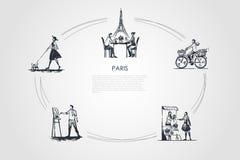 Παρίσι - άνθρωποι που οδηγούν το ποδήλατο, πίνοντας τον καφέ με την πετσέτα του Άιφελ πίσω, ζωγραφική, λουλούδια αγοράς, διανυσμα απεικόνιση αποθεμάτων
