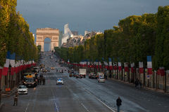 Παρίσι, Γαλλία - 14 Ιουλίου 2012 Προετοιμασία του τετραγώνου για την ετήσια στρατιωτική παρέλαση προς τιμή την ημέρα Bastille Στοκ φωτογραφία με δικαίωμα ελεύθερης χρήσης