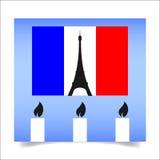 Παρίσι Γαλλία - Παρασκευή, Νοέμβριος εορτασμός των θυμάτων της τρομοκρατικής επίθεσης διανυσματική απεικόνιση