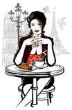 Παρίσι - γυναίκα στις διακοπές που έχουν το πρόγευμα διανυσματική απεικόνιση