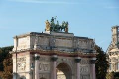 Παρίσι - θριαμβευτική αψίδα (Arc de Triomphe du ιπποδρόμιο) σε Tuileries Στοκ Εικόνες