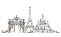 Παρίσι, ιερή καρδιά σε Montmartre, αψίδα Thriumph και πύργος του Άιφελ, συλλογή σκίτσων Στοκ φωτογραφίες με δικαίωμα ελεύθερης χρήσης