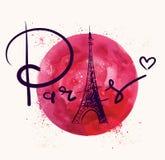 Παρίσι και κόκκινος κύκλος ελεύθερη απεικόνιση δικαιώματος