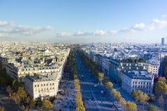 Παρίσι πανοραμική εναέρια Avenue des Champs-Elysee Στοκ Εικόνα