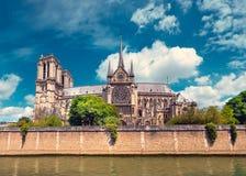 Παρίσι, πανόραμα του καθεδρικού ναού της Notre-Dame πέρα από τον ποταμό Σηκουάνας Στοκ Εικόνες