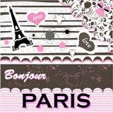Παρίσι Ρομαντική ευχετήρια κάρτα Στοκ εικόνα με δικαίωμα ελεύθερης χρήσης