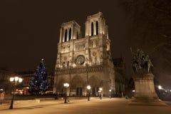 Παρίσι τή νύχτα, η Νοτρ Νταμ Στοκ εικόνα με δικαίωμα ελεύθερης χρήσης