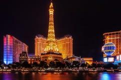 Παρίσι το Λας Βέγκας τή νύχτα Στοκ Εικόνες