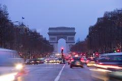 Παρίσι, champs-Elysees, τόξο de triomphe Στοκ Εικόνα