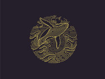 Παραβιάζοντας humpback λογότυπο φαλαινών Στοκ Φωτογραφία