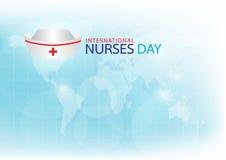 Παραγμένη νοσοκόμα ΚΑΠ εικόνας στο ανοικτό μπλε υπόβαθρο Στοκ Εικόνες