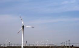 Παραγωγή αιολικής ενέργειας στο δυτικό τμήμα της Κίνας Στοκ Φωτογραφίες