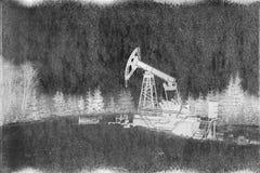 Παραγωγή πετρελαίου το χειμώνα στο υποστήριγμα Synechka Στοκ Φωτογραφίες