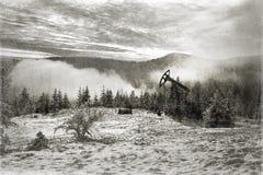 Παραγωγή πετρελαίου το χειμώνα στο υποστήριγμα Synechka Στοκ φωτογραφία με δικαίωμα ελεύθερης χρήσης