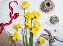 Παραγωγή της ανθοδέσμης με τα λουλούδια ναρκίσσων Στοκ φωτογραφία με δικαίωμα ελεύθερης χρήσης