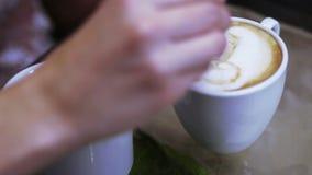 Παραγωγή της εκπαίδευσης barista καφέ απόθεμα βίντεο