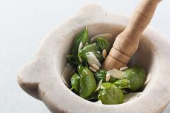 Παραγωγή του pesto με ένα κονίαμα Στοκ φωτογραφία με δικαίωμα ελεύθερης χρήσης