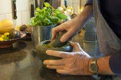 Παραγωγή του pesto Στοκ φωτογραφία με δικαίωμα ελεύθερης χρήσης