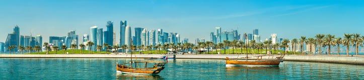 Παραδοσιακά αραβικά dhows σε Doha, Κατάρ Στοκ φωτογραφίες με δικαίωμα ελεύθερης χρήσης