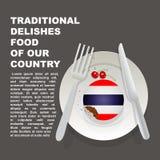 Παραδοσιακά εύγευστα τρόφιμα της αφίσας χωρών της Ταϊλάνδης Ασιατικό εθνικό επιδόρπιο Διανυσματικό κέικ απεικόνισης με τη εθνική  διανυσματική απεικόνιση