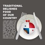 Παραδοσιακά εύγευστα τρόφιμα της αφίσας χωρών του Παναμά Αμερικανικό εθνικό επιδόρπιο Διανυσματικό κέικ απεικόνισης με τη εθνική  ελεύθερη απεικόνιση δικαιώματος