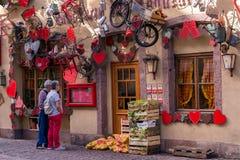 Παραδοσιακά ξύλινα σπίτια στη Colmar, Γαλλία Στοκ Φωτογραφίες
