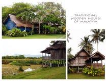 Παραδοσιακά ξύλινα σπίτια του κολάζ της Μαλαισίας Στοκ Εικόνες