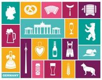 Παραδοσιακά σύμβολα του πολιτισμού, της αρχιτεκτονικής και της κουζίνας της Γερμανίας ελεύθερη απεικόνιση δικαιώματος