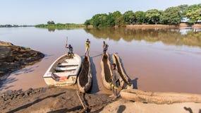 Παραδοσιακές βάρκες dassanech στον ποταμό Omo Οι βάρκες πιρογών γίνονται από έναν κοιλαμένο κορμό δέντρων στοκ εικόνες με δικαίωμα ελεύθερης χρήσης