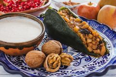 Παραδοσιακή μεξικάνικη κουζίνα συστατικών Nogada Chiles EN στο Πουέμπλα Μεξικό στοκ εικόνα με δικαίωμα ελεύθερης χρήσης