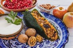 Παραδοσιακή μεξικάνικη κουζίνα συστατικών Nogada Chiles EN στο Πουέμπλα Μεξικό στοκ εικόνα
