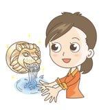Παραδοσιακή πηγή - βρύση και γυναίκα λιονταριών απεικόνιση αποθεμάτων