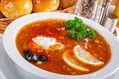 Παραδοσιακή ρωσική σούπα solyanka στο άσπρο κύπελλο στοκ εικόνες
