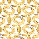 Παραδοσιακή ρωσική χρυσή υποδοχή ποτών σειράς μαθημάτων πιάτων πολιτισμού σαμοβαριών διανυσματική απεικόνιση γεύματος της Ρωσίας  απεικόνιση αποθεμάτων