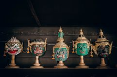 Παραδοσιακή ταϊλανδική παντομίμα μασκών ` Khon ` από το έπος Ramayana στοκ εικόνες