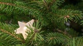 Παραδοσιακοί κλάδοι έλατου με ένα ελαφρώς κρυμμένο λάμποντας αστέρι Στοκ εικόνα με δικαίωμα ελεύθερης χρήσης