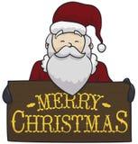 Παραδοσιακός Άγιος Βασίλης που κρατά ένα ξύλινο σημάδι Χριστουγέννων, διανυσματική απεικόνιση ελεύθερη απεικόνιση δικαιώματος